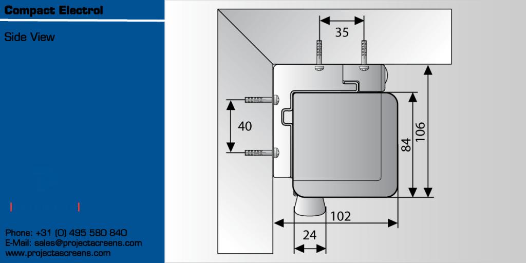 Projecta Compact Electrol 290 motoros vetítővászon oldalsó méretei