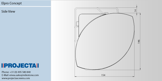 Projecta Elpro Concept 210 oldalfeszített motoros vetítővászon oldalsó méretei