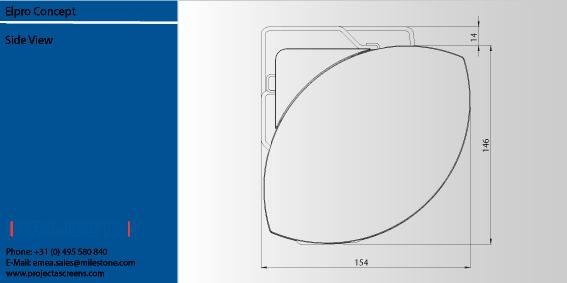 Projecta Elpro Concept 290 motoros vetítővászon (290x163) oldalsó méretei
