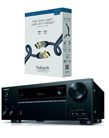 Onkyo TX-NR656 házimozi erősítő + Inakustik Premium HDMI kábel fekete