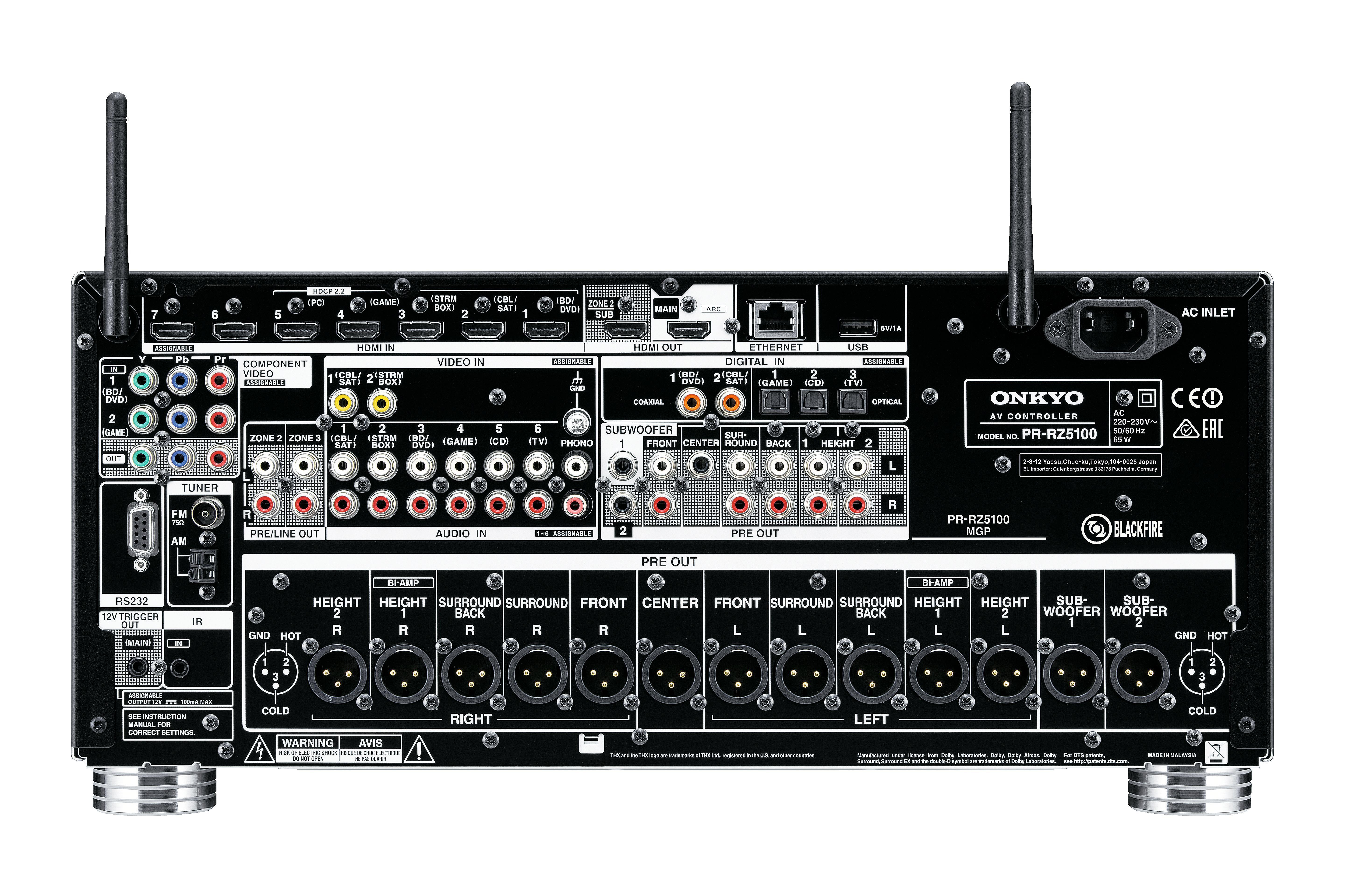 Onkyo PR-RZ5100 házimozi processzor csatlakozo
