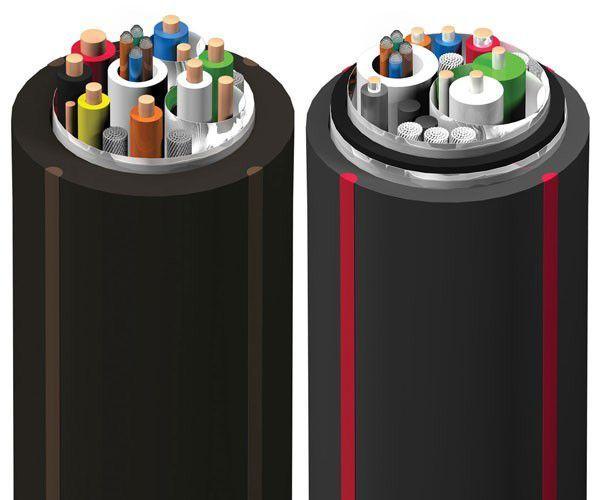 A Root Beer 18 (balra) és a Cherry Cola (jobbra) kábelek belső nézete